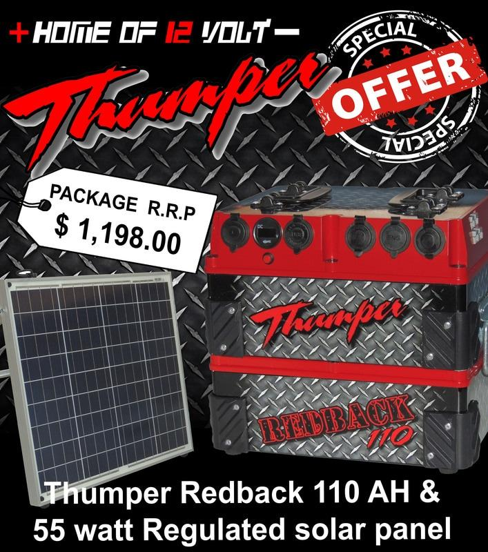 110 A H Thumper Redback With 60 Watt Mono Solar Kit Home