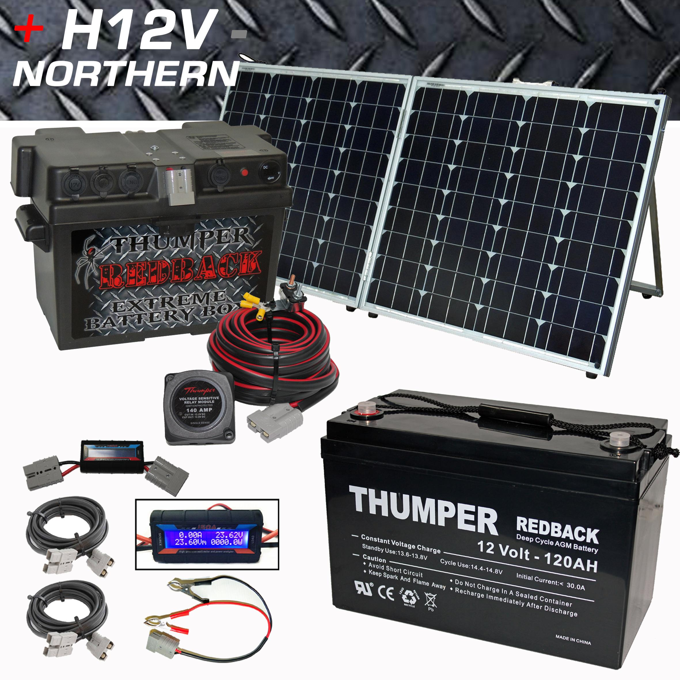 Thumper Battery Box Thumper 120ah Redback 120 Watt Split Fold Solar Panel Home Of 12 Volt Northern