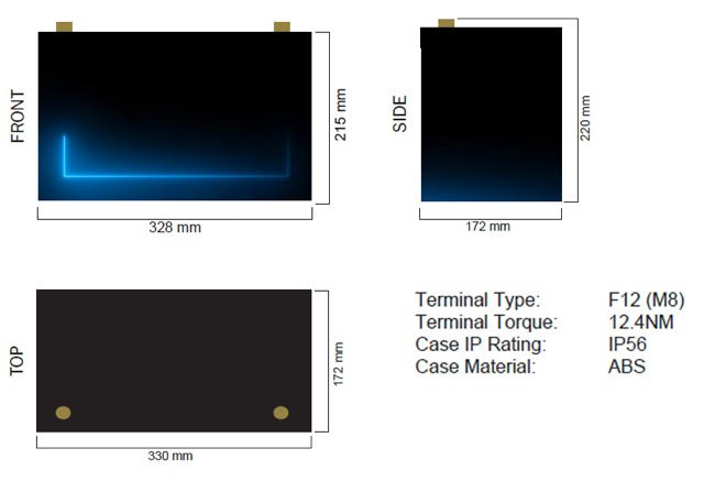 Thumper 120Amp Lithium dimension
